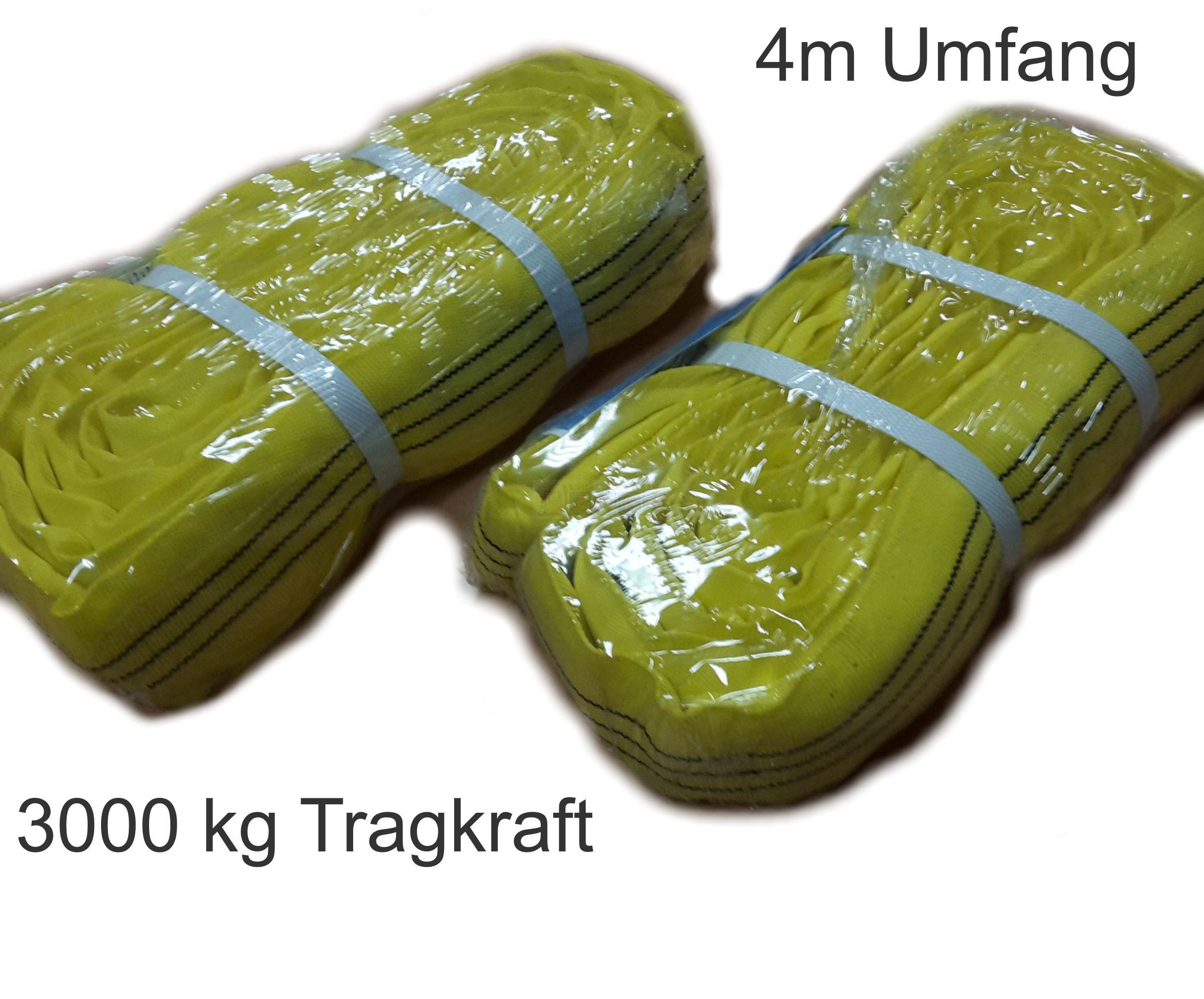 Rundschlingen 2er Set ( je 4m Umfang) 3t Tragkraft; gelb