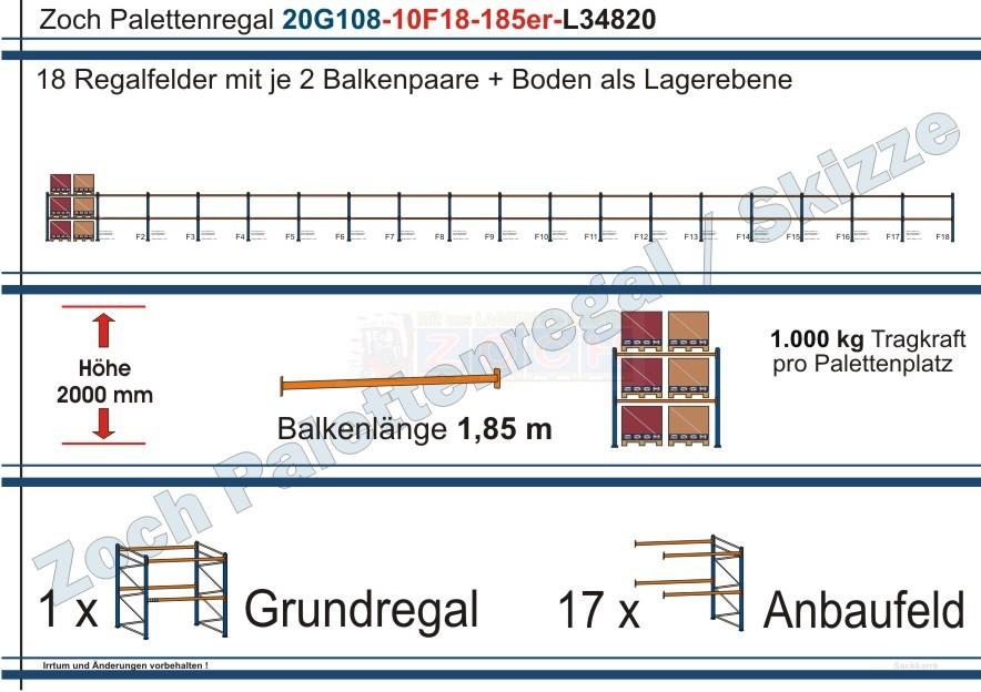 Palettenregal 20G108-10F18 Länge: 34820 mm mit 1000kg je Palettenplatz