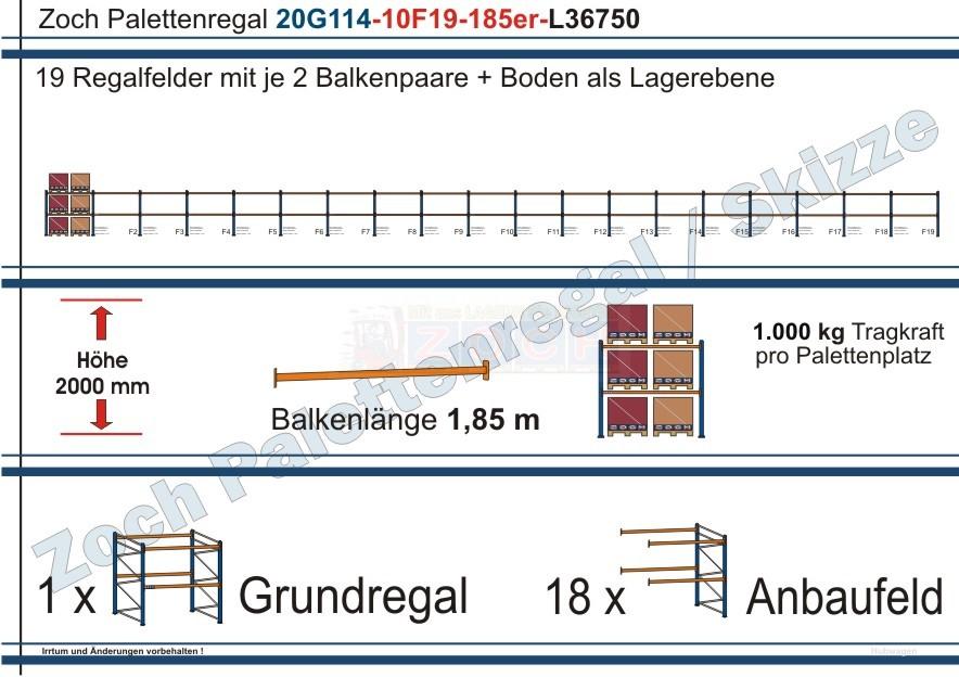 Palettenregal 20G114-10F19 Länge: 36750 mm mit 1000kg je Palettenplatz