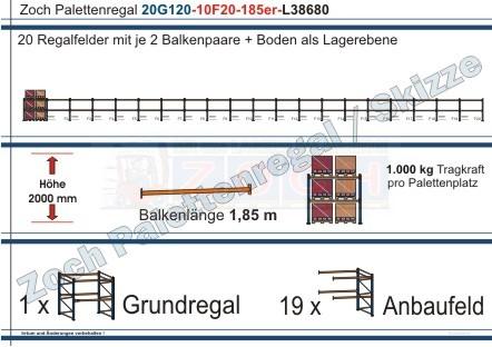 Palettenregal 20G120-10F20 Länge: 38680 mm mit 1000kg je Palettenplatz