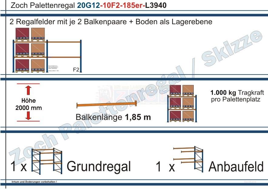 Palettenregal 20G12-10F2 Länge: 3940 mm mit 1000kg je Palettenplatz