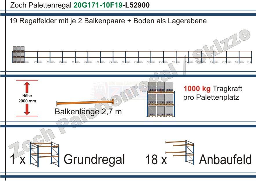 Palettenregal 20G171-10F19 Länge: 52900 mm mit 1000kg je Palettenplatz