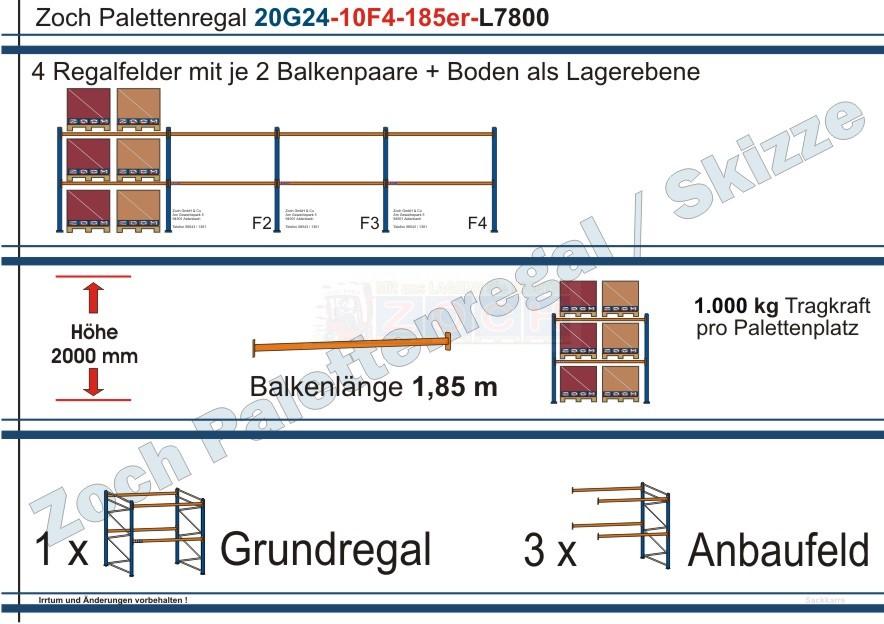 Palettenregal 20G24-10F4 Länge: 7800 mm mit 1000kg je Palettenplatz