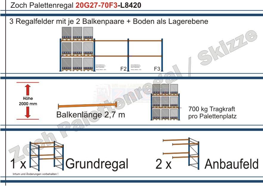 Palettenregal 20G27-70 F3 mit einer Gesamtlänge von 8420 mm