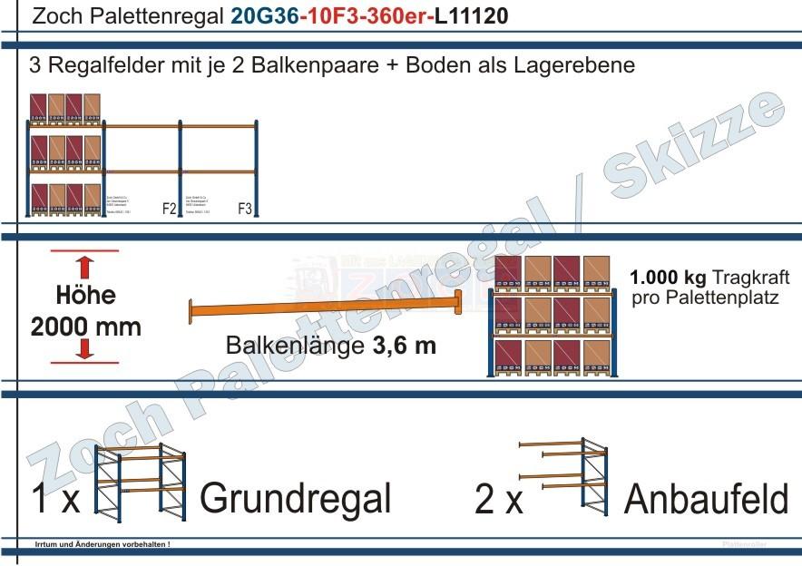 Palettenregal 20G36-10F3 Länge: 11120 mm mit 1000kg je Palettenplatz