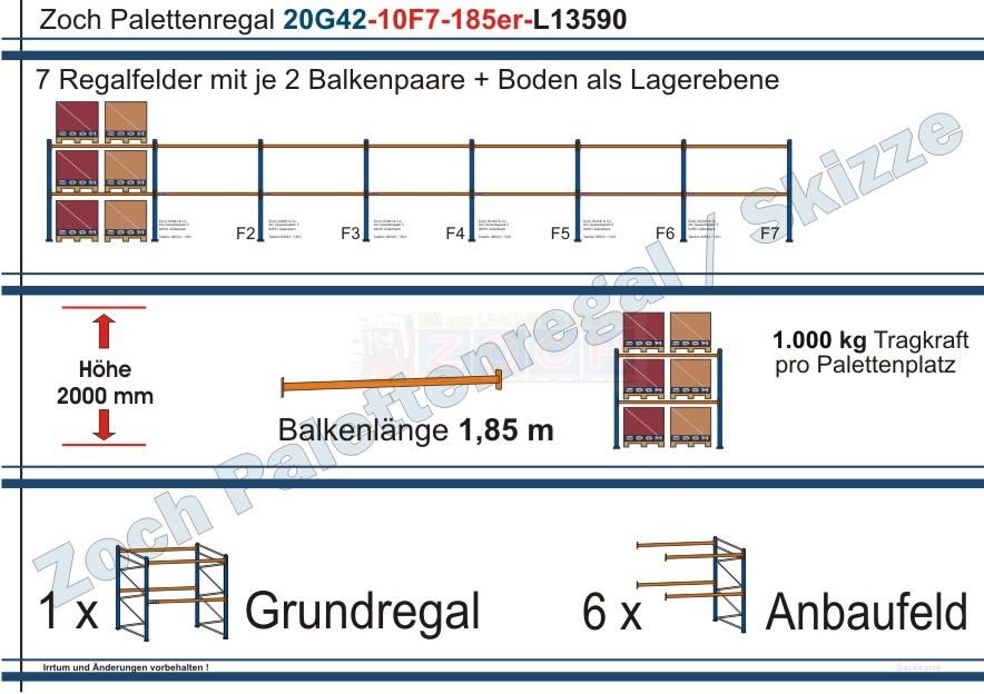 Palettenregal 20G42-10F7 Länge: 13590 mm mit 1000kg je Palettenplatz