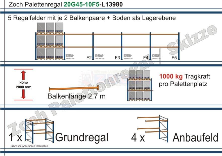 Palettenregal 20G45-10F5 Länge: 13980 mm mit 1000kg je Palettenplatz