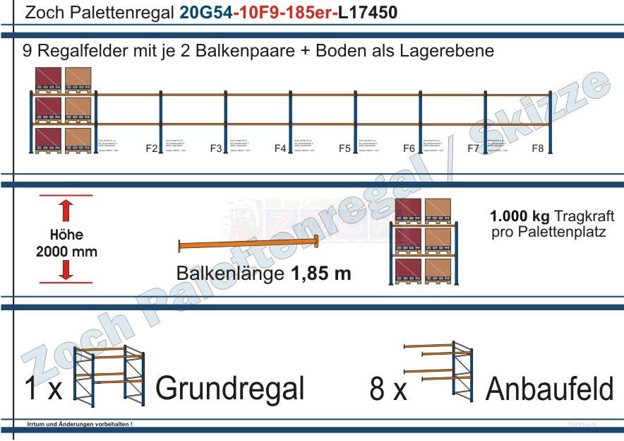 Palettenregal 20G54-10F9 Länge: 17450 mm mit 1000kg je Palettenplatz