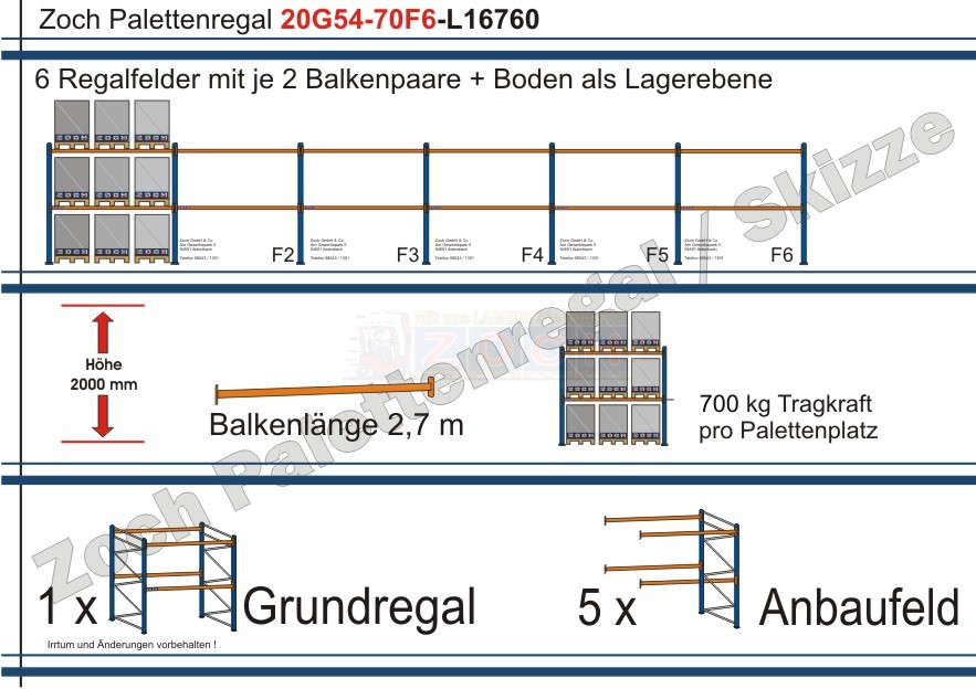 Palettenregal 20G54-70F6 Länge: 16760 mm mit 700kg je Palettenplatz