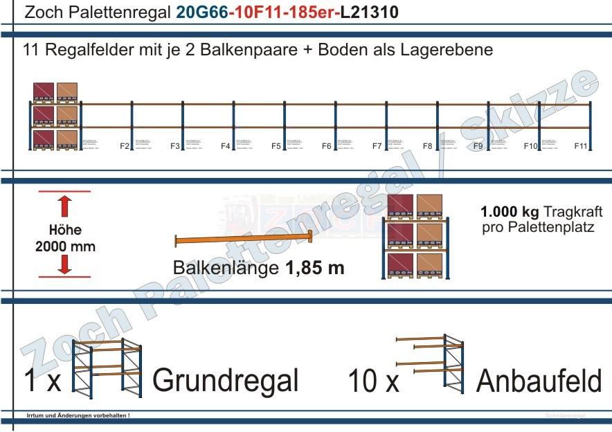 Palettenregal 20G66-10F11 Länge: 21310 mm mit 1000kg je Palettenplatz