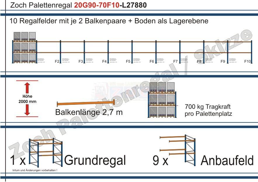 Palettenregal 20G180-70F20 Länge: 55680 mm mit 700kg je Palettenplatz