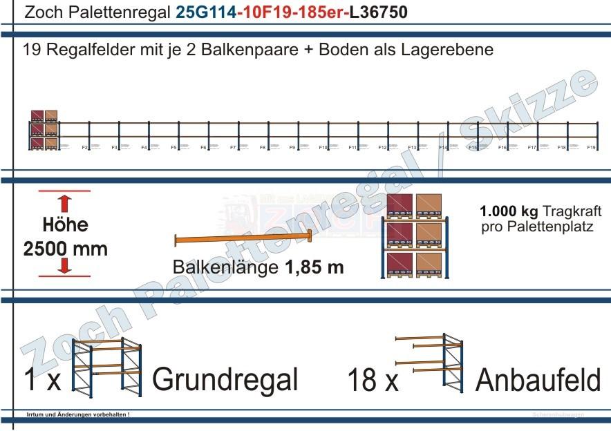 Palettenregal 25G114-10F19 Länge: 36750 mm mit 1000 kg je Palettenplatz