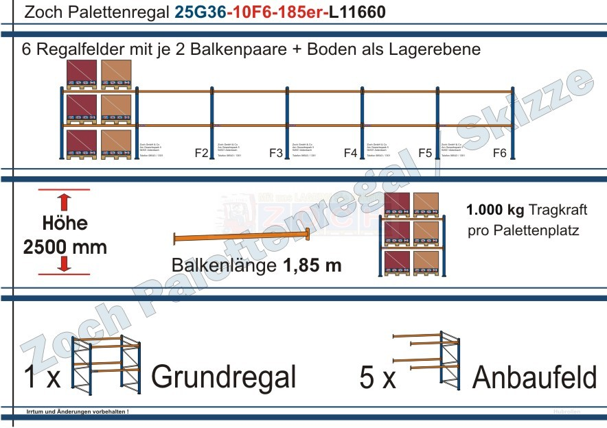 Palettenregal 25G36-10F6 Länge: 11660 mm mit 1000 kg je Palettenplatz