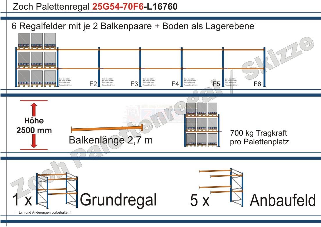 Palettenregal 25G54-70F6 Länge: 16760 mm mit 700kg je Palettenplatz