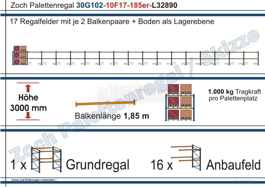 Palettenregal 30G102-10F17 Länge: 32890 mm mit 1000 kg je Palettenplatz