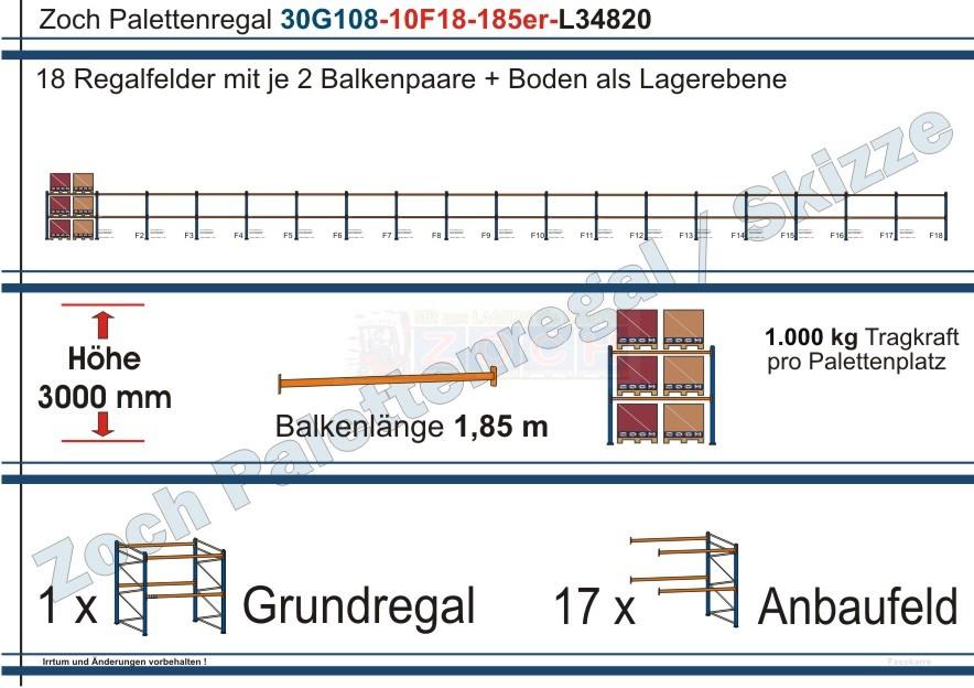 Palettenregal 30G108-10F18 Länge: 34820 mm mit 1000 kg je Palettenplatz