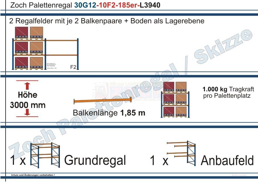 Palettenregal 30G12-10F2 Länge: 3940 mm mit 1000 kg je Palettenplatz