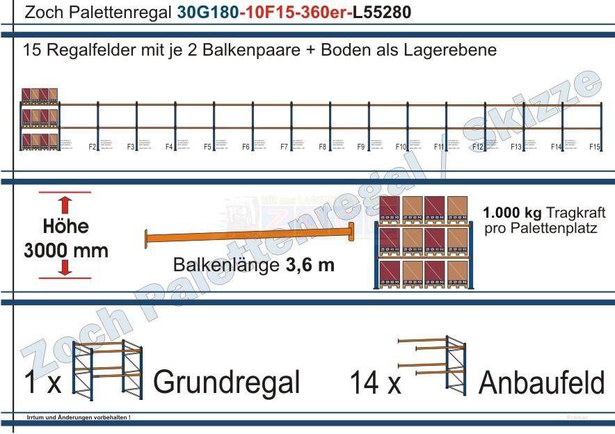 Palettenregal 30G180-10F15 Länge: 55280 mm mit 1000kg je Palettenplatz