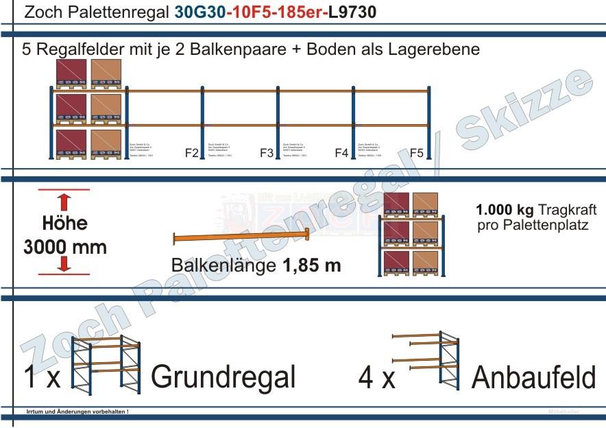 Palettenregal 30G30-10F5 Länge: 9730 mm mit 1000 kg je Palettenplatz