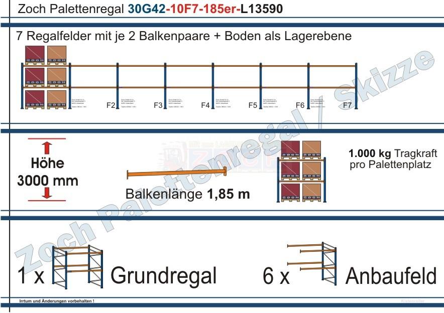 Palettenregal 30G42-10F7 Länge: 13590 mm mit 1000 kg je Palettenplatz
