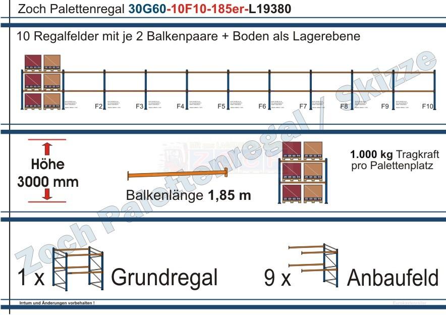 Palettenregal 30G60-10F10 Länge: 19380 mm mit 1000 kg je Palettenplatz