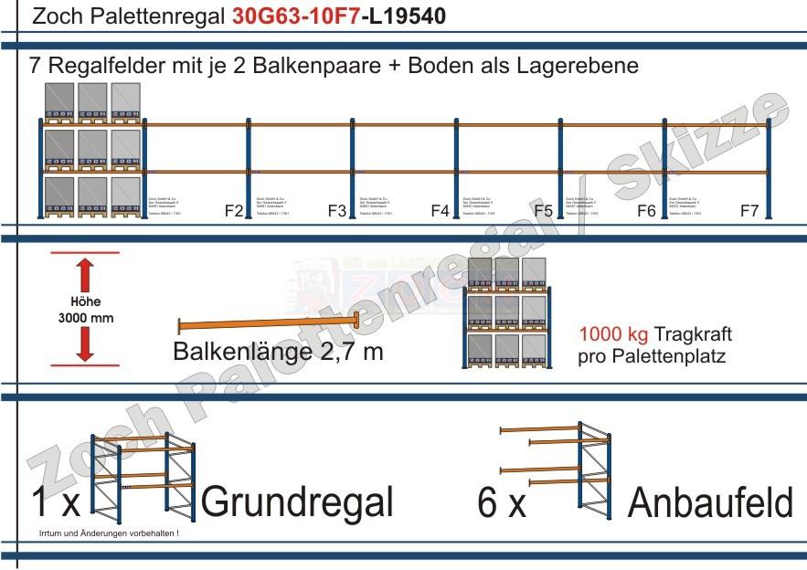 Palettenregal 30G63-10F7 Länge: 19540 mm mit 1000kg je Palettenplatz