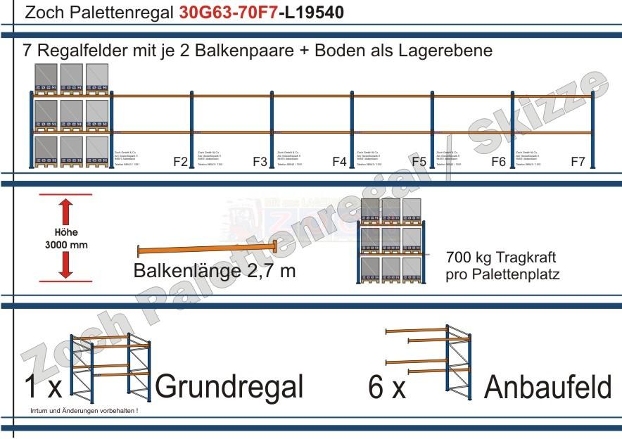 Palettenregal 30G63-70F7 Länge: 19540 mm mit 700kg je Palettenplatz