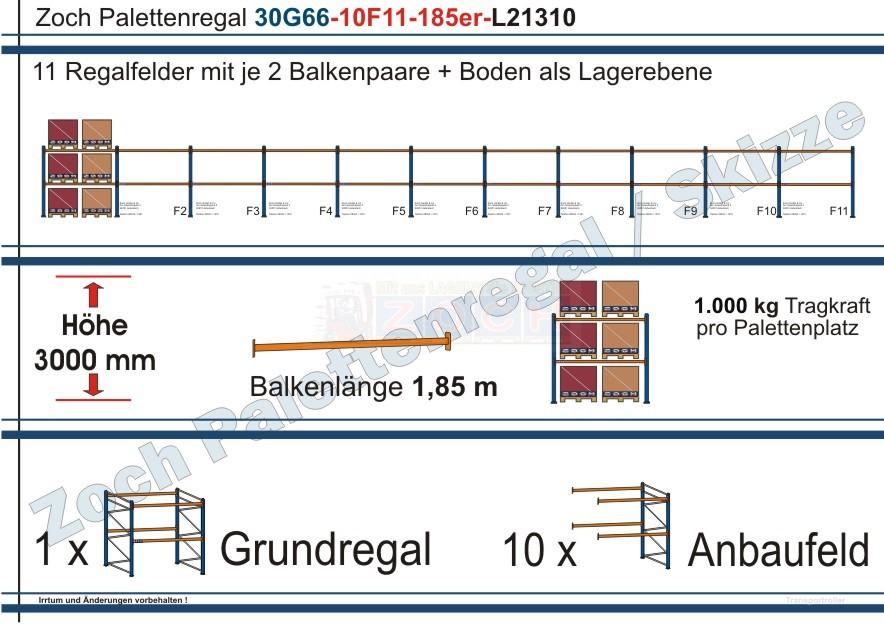Palettenregal 30G66-10F11 Länge: 21310 mm mit 1000 kg je Palettenplatz