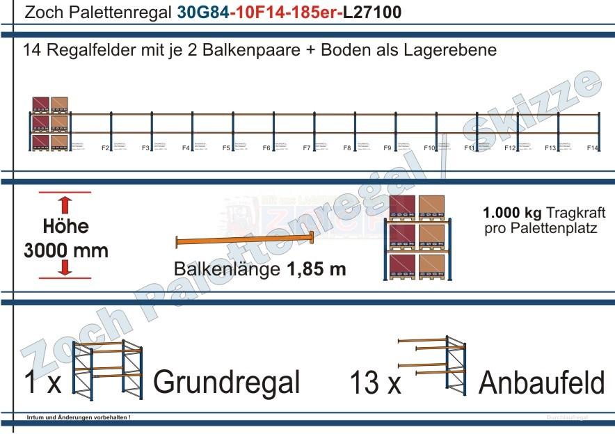 Palettenregal 30G84-10F14 Länge: 27100 mm mit 1000 kg je Palettenplatz
