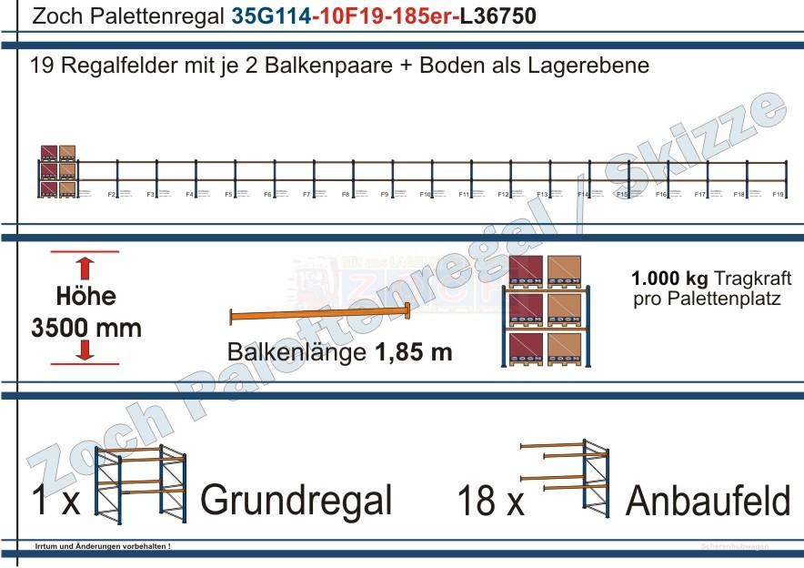 Palettenregal 35G114-10F19 Länge: 36750 mm mit 1000 kg je Palettenplatz