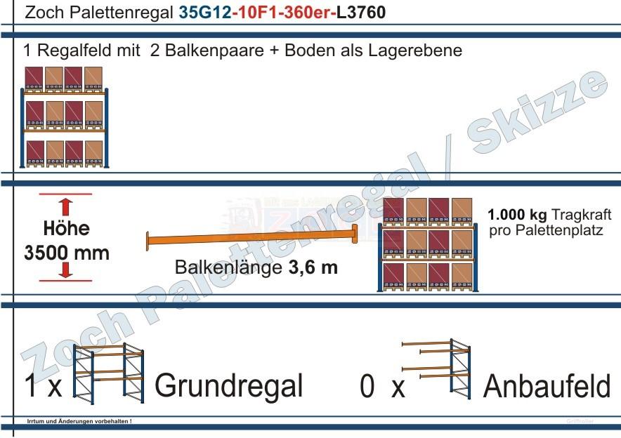 Palettenregal 35G12-10F1 Länge: 3760 mm mit 1000kg je Palettenplatz