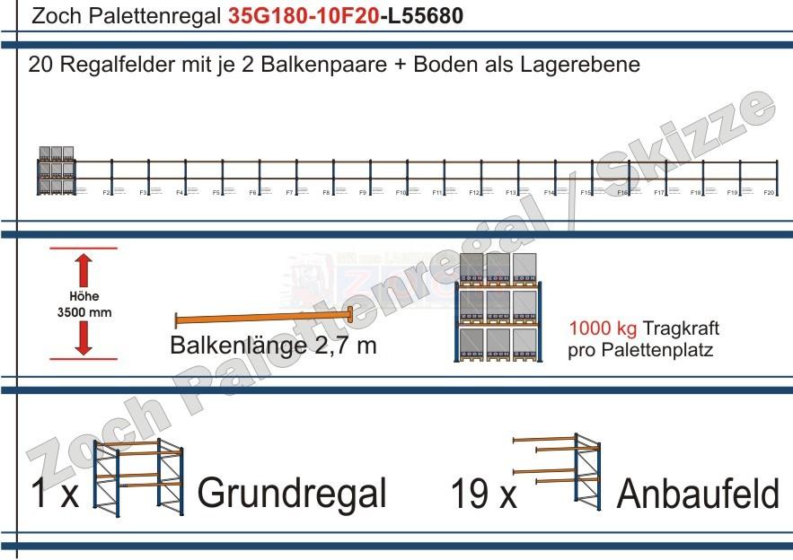 Palettenregal 35G180-10F20 Länge: 55680 mm mit 1000kg je Palettenplatz