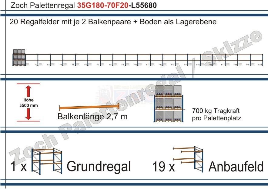 Palettenregal 35G180-70F20 Länge: 55680 mm mit 700kg je Palettenplatz