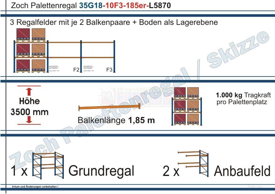 Palettenregal 35G18-10F3 Länge: 5870 mm mit 1000 kg je Palettenplatz