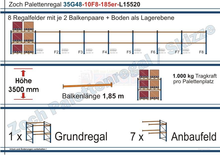 Palettenregal 35G48-10F8 Länge: 15520 mm mit 1000 kg je Palettenplatz