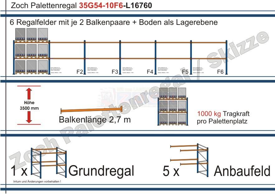 Palettenregal 35G54-10F6 Länge: 16760 mm mit 1000kg je Palettenplatz