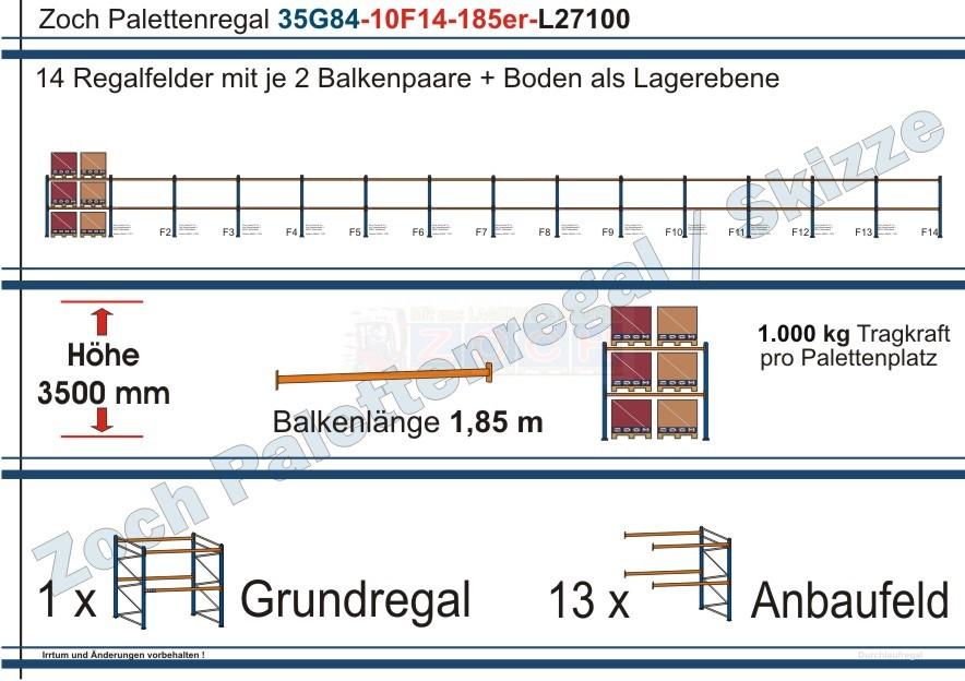 Palettenregal 35G84-10F14 Länge: 27100 mm mit 1000 kg je Palettenplatz