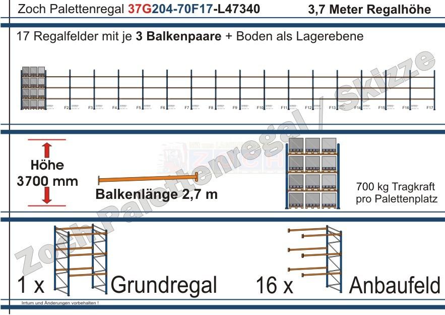 Palettenregal 37G204-70F17 Länge: 47340 mm mit 700kg je Palettenplatz
