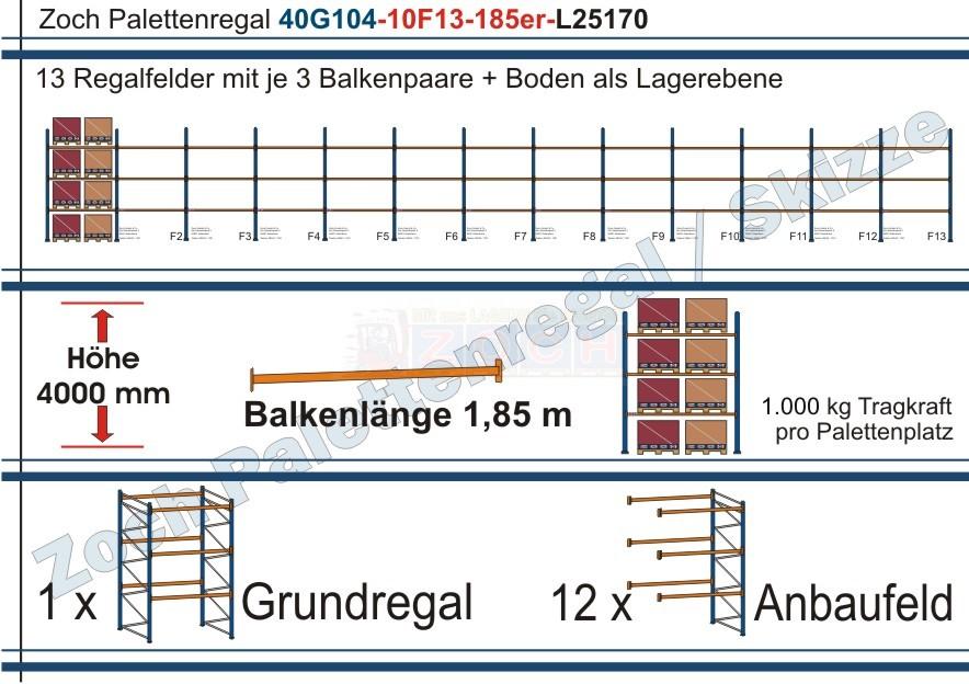 Palettenregal 40G104-10F13 Länge: 25170 mm mit 1000 kg je Palettenplatz