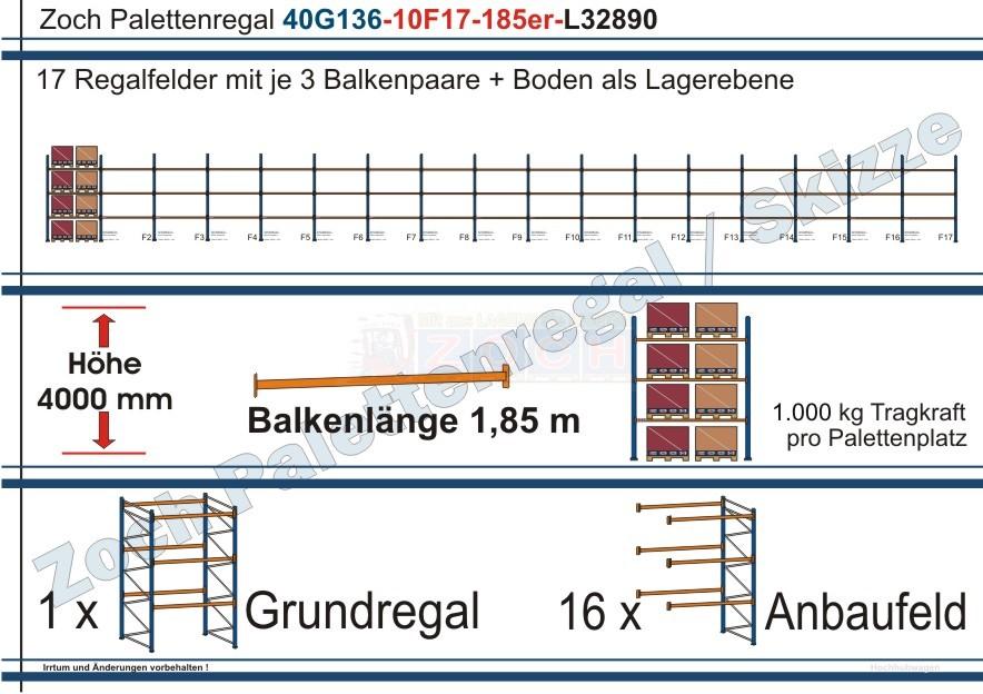 Palettenregal 40G136-10F17 Länge: 32890 mm mit 1000 kg je Palettenplatz
