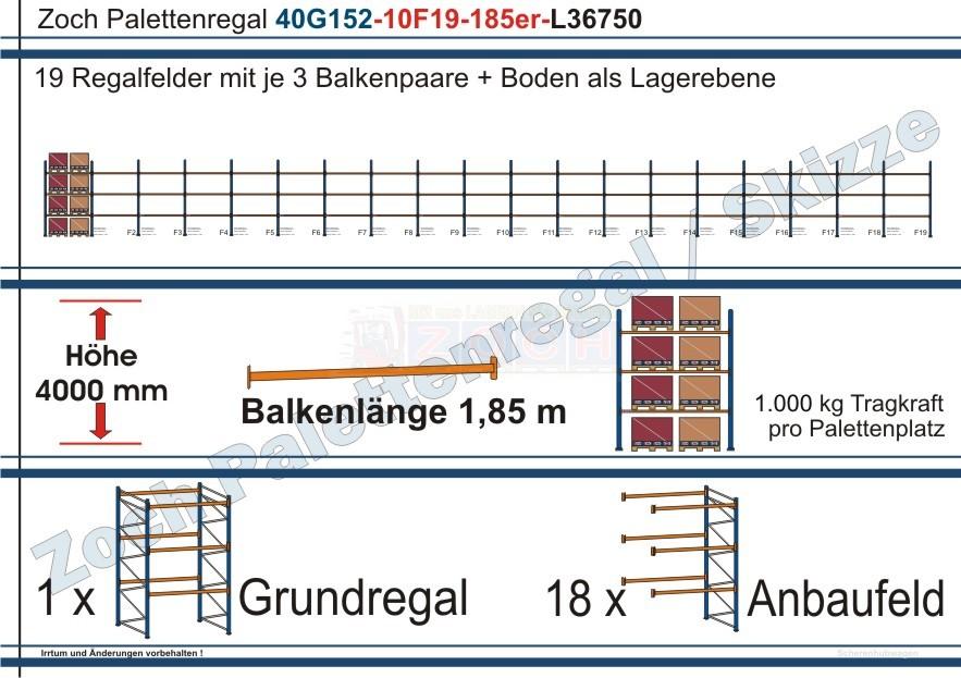 Palettenregal 40G152-10F19 Länge: 36750 mm mit 1000 kg je Palettenplatz