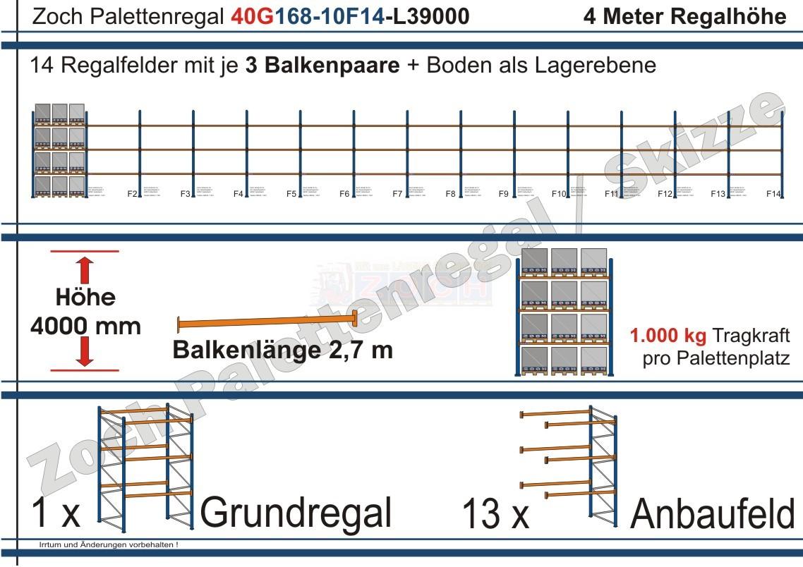 Palettenregal 40G168-10F14 Länge: 39000 mm mit 1000kg je Palettenplatz