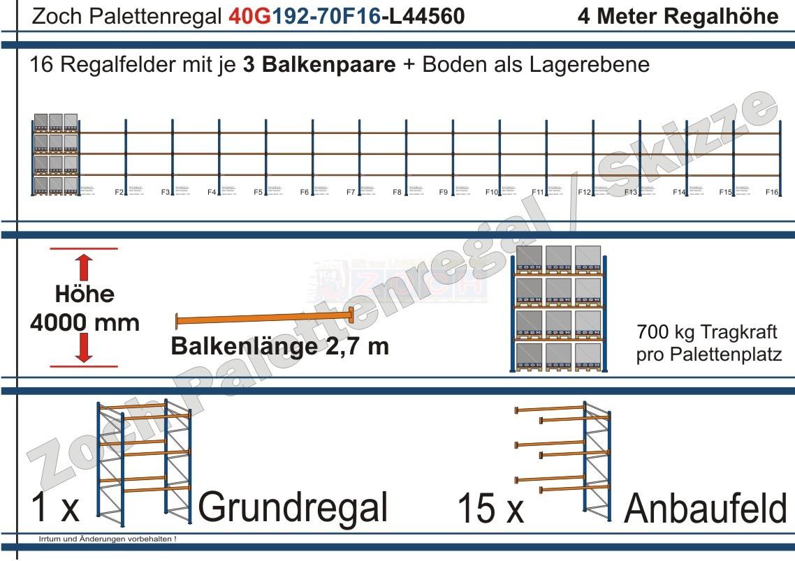 Palettenregal 40G192-70F16 Länge: 44560 mm mit 700kg je Palettenplatz