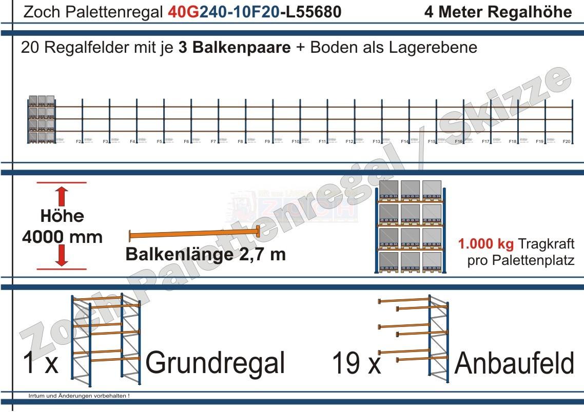 Palettenregal 40G240-10F20 Länge: 55680 mm mit 1000kg je Palettenplatz