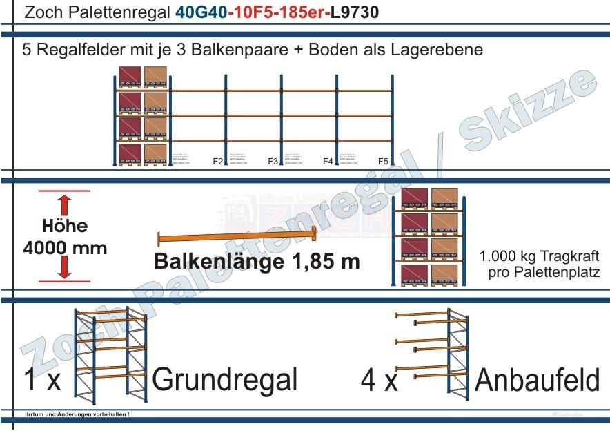 Palettenregal 40G40-10F5 Länge: 9730 mm mit 1000 kg je Palettenplatz