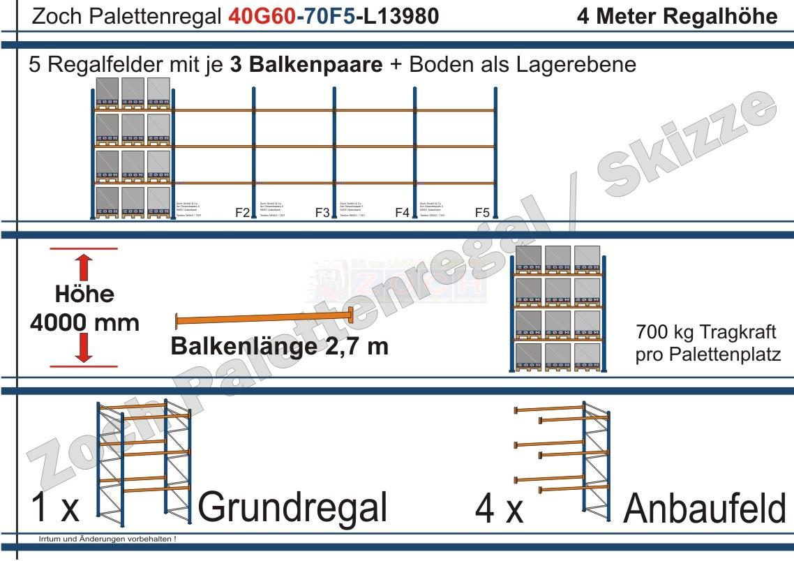 Palettenregal 40G60-70F5 Länge: 13980 mm mit 700kg je Palettenplatz