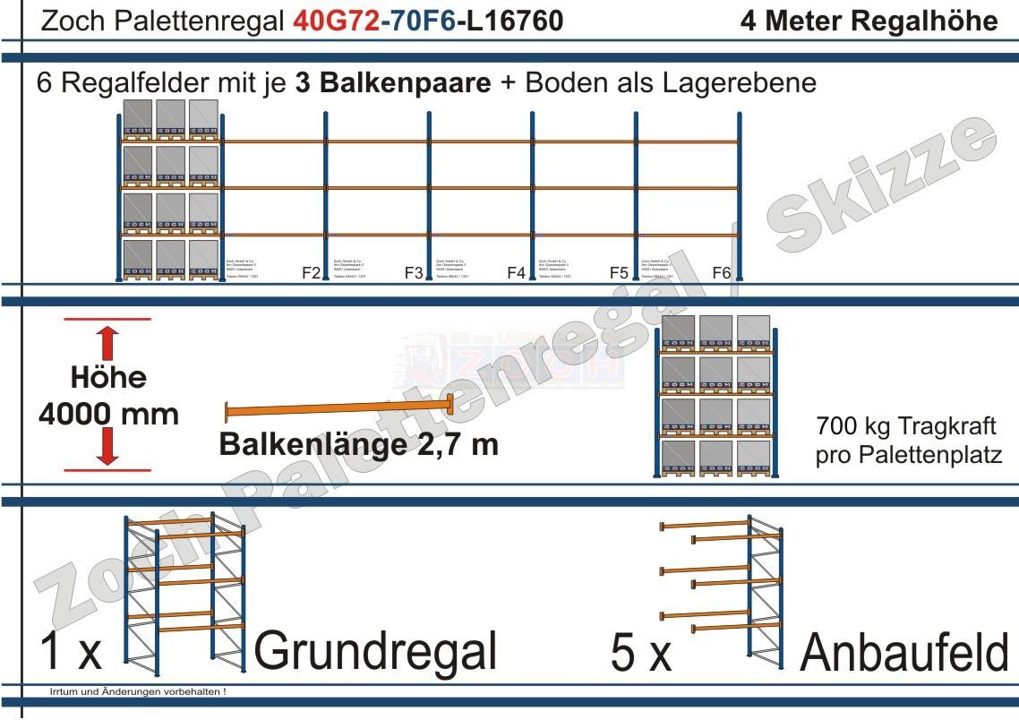 Palettenregal 40G72-70F6 Länge: 16760 mm mit 700kg je Palettenplatz