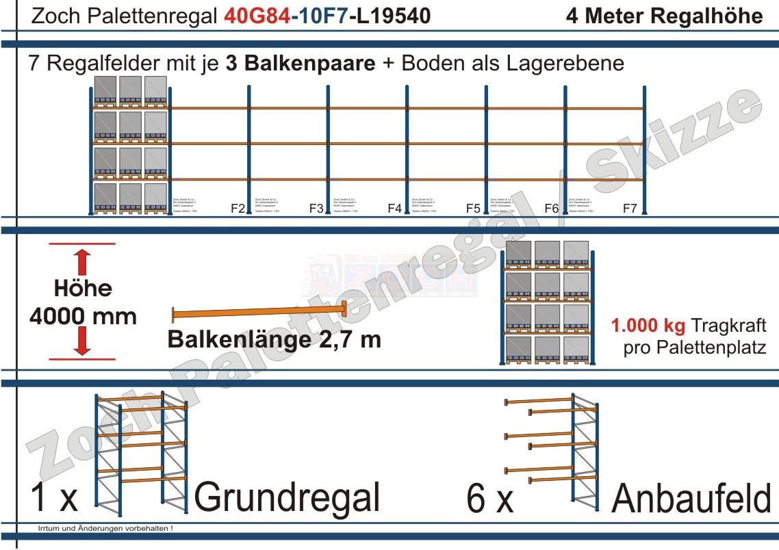 Palettenregal 40G84-10F7 Länge: 19540 mm mit 1000kg je Palettenplatz