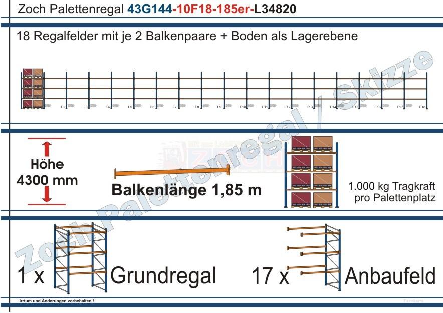 Palettenregal 43G144-10F18 Länge: 34820 mm mit 1000 kg je Palettenplatz