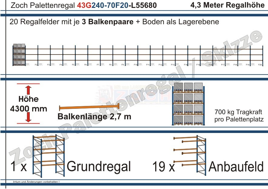 Palettenregal 43G240-70F20 Länge: 55680 mm mit 700 kg je Palettenplatz